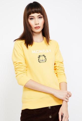 FREE AUTHORITY Garfield Print Regular Fit  Full Sleeves Sweatshirt