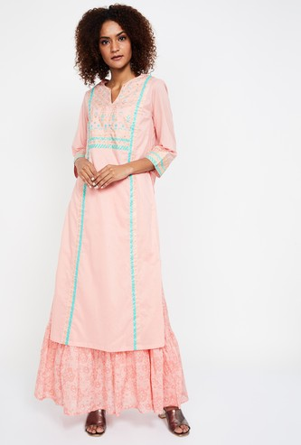 BIBA Printed Embroidered Kurta with Innerlay