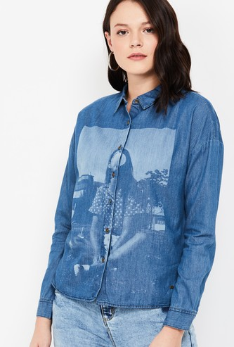 JEALOUS 21 Printed Regular Fit Denim Shirt