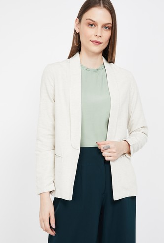 BOSSINI Solid Regular Fit Open-Front Blazer