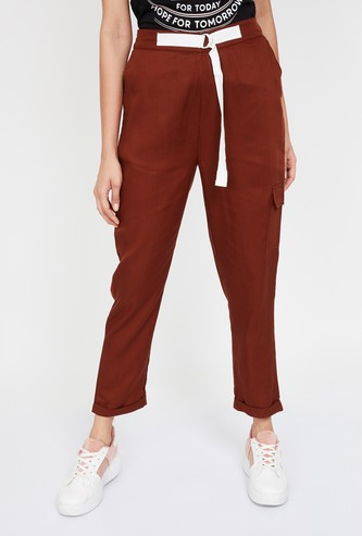 BOSSINI Solid Cropped Trousers
