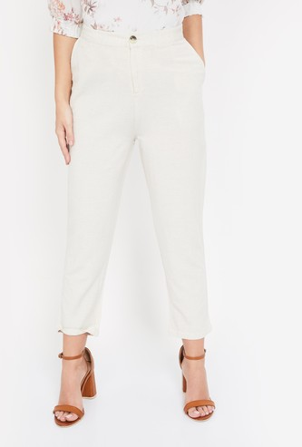 BOSSINI Solid Tapered Cropped Trousers