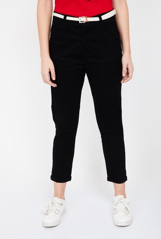 BOSSINI Solid Slim Cropped Pants with Detachable Belt