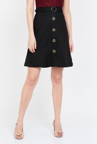 BOSSINI Solid A-line Mini Skirt