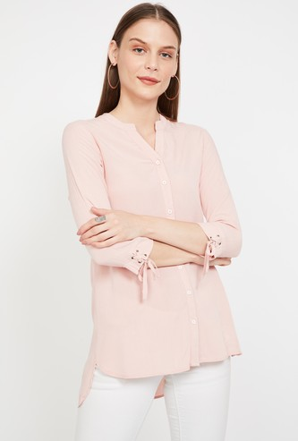 BOSSINI Solid Regular Fit Shirt with Lace-Up Sleeves