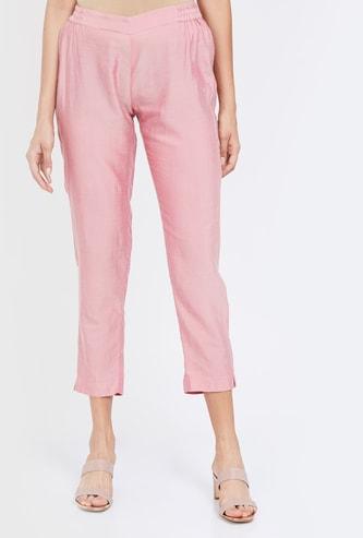 MELANGE Solid Cropped Straigth Pants