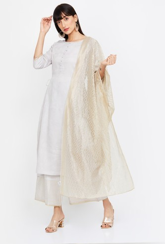 MELANGE Solid A-line Kurta with Palazzos and Dupatta