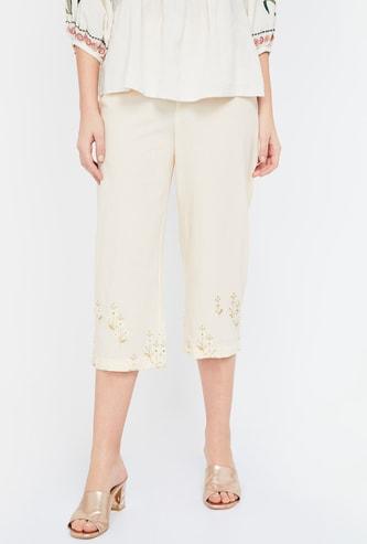 MELANGE Embroidered Hem Regular Fit Cropped Pants