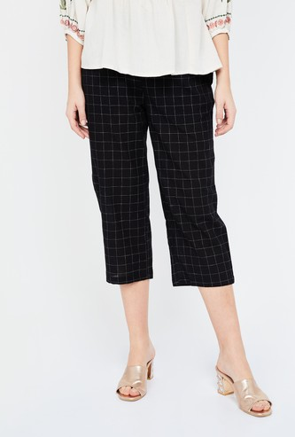 MELANGE Checked Cropped Pants