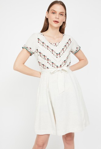 CODE Floral Embroidery Skater Dress with Sash Tie-Up