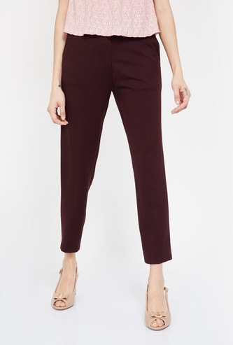 CODE Solid Flat Front Trousers