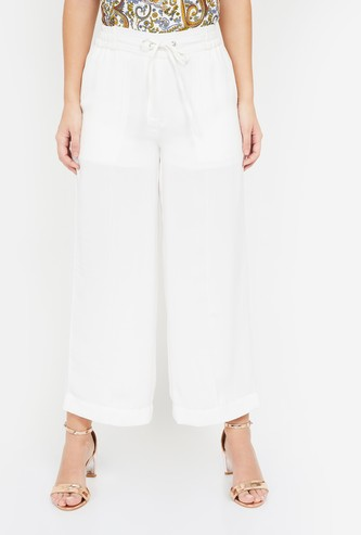 CODE Solid Flared Pants with Drawstring Detail