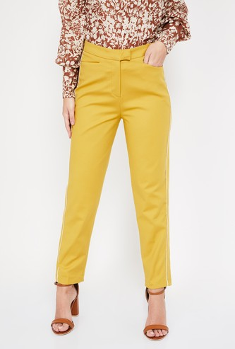 CODE Solid Pants with Tape Detail
