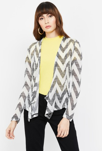 CODE Chevron Pattern Open-Front Shrug
