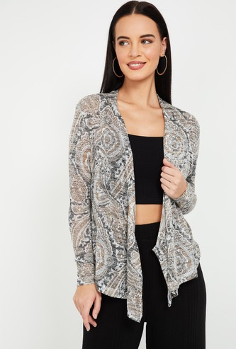 CODE Printed Shrug with Dipped Hem