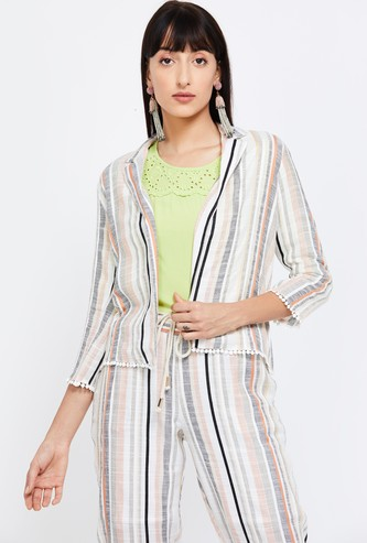 CODE Striped Shrug with Notched Lapel