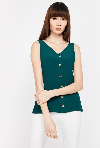 CODE Solid Sleeveless V-neck Top