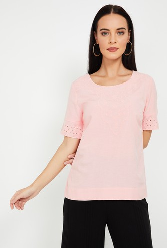 CODE Embroidered Round Neck Top