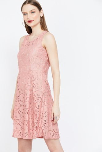 MS.TAKEN Floral Lace Sleeveless Fit & Flare Dress