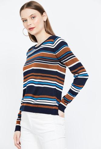 MS. TAKEN Striped Round Neck Sweater
