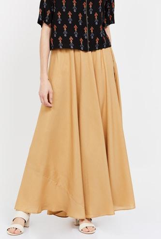 DE MOZA Solid Elasticated Skirt