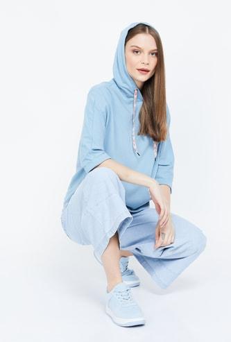 MS. TAKEN Solid Three-quarter Sleeves Hooded Sweatshirt