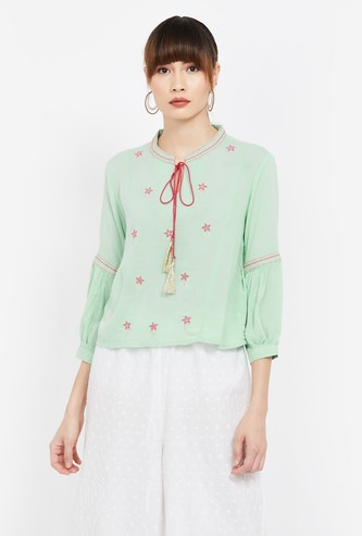COLOUR ME Embroidered Blouson Sleeves Tie-Up Neck Top