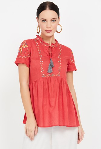 COLOUR ME Embroidered Short Kurti Top with Tie-Up Detail