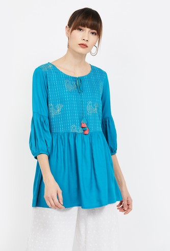 COLOUR ME Embroidered Tunic with Tie-Up