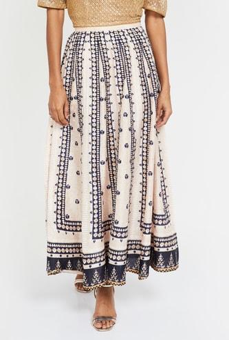 W Printed Elasticated Skirt