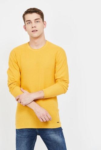 BOSSINI Textured Crew Neck Sweater