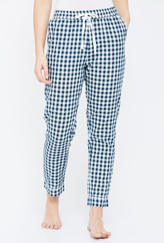 GINGER Gingham Checked Drawstring Waist Pyjamas