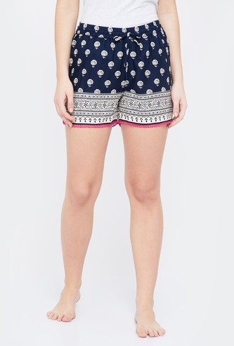 GINGER Printed Lace Trimmed Lounge Shorts
