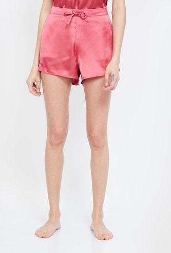 GINGER Solid Drawstring Waist Shorts