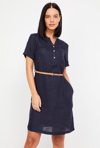 BOSSINI Solid Linen T-shirt Dress with Detachable Belt