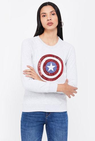 FREE AUTHORITY Embellished Full Sleeves Sweatshirt