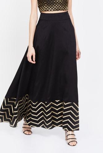 INDYA Chevron Print Skirt
