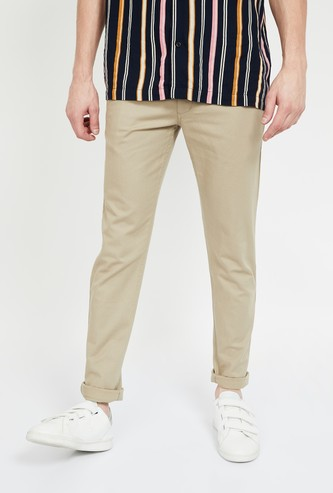 CODE Solid Slim Tapered Fit Casual Trousers