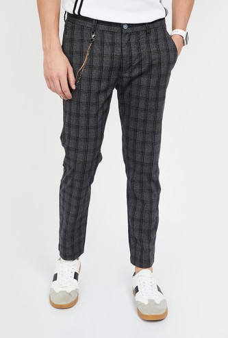CODE Checked Slim Tapered Fit Casual Trousers