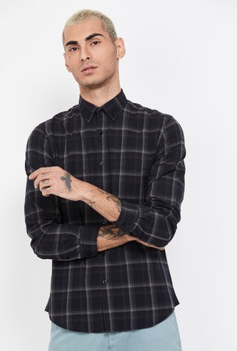 CODE Checked Full Sleeves Slim Fit Casual Shirt