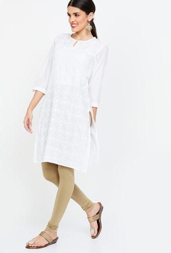 DE MOZA Solid Knitted Skinny Churidar