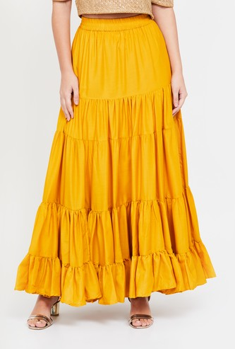 DE MOZA Solid Tiered A-line Maxi Skirt