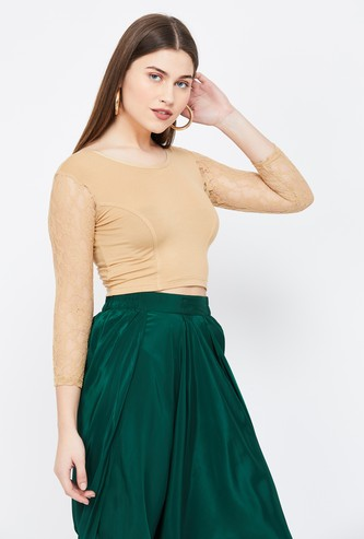DE MOZA Panelled Crop Top with Floral Lace Sleeves