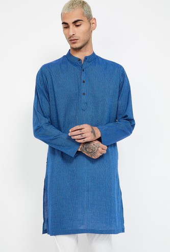 MELANGE Textured Band Collar Regular Fit Kurta