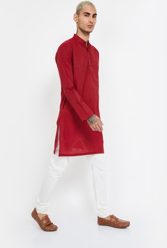 MELANGE Textured Regular Fit Band Collar Kurta