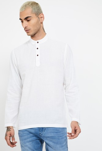 MELANGE Solid Regular Fit Short Kurta