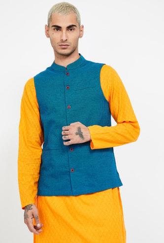MELANGE Textured Ethnic Sleeveless Jacket