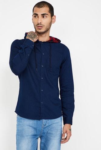 FAME FOREVER Solid Slim Fit Hooded Shirt