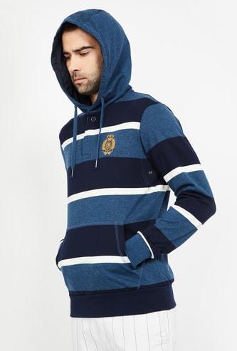 FAHRENHEIT Striped Hooded Regular Fit Sweatshirt