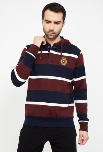 FAHRENHEIT Striped Hooded Sweatshirt